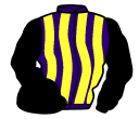 purple and yellow stripes, black sleeves and cap