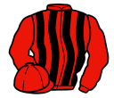 red and black stripes, red sleeves