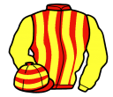 red and yellow stripes, yellow sleeves, hooped cap
