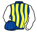 royal blue and yellow stripes, white sleeves