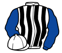 white and black stripes, royal blue sleeves, white cap