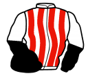 white and red stripes, black and white halved sleeves, black cap