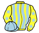 yellow and light blue stripes, yellow sleeves, light blue stars and cap