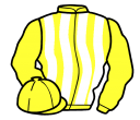 yellow and white stripes, yellow sleeves and cap