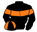 black, orange hoop and armlets, quartered cap