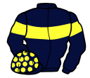 dark blue, yellow hoop, armlets and spots on cap