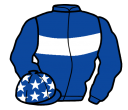 royal blue, white hoop, sleeves and stars on cap