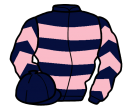 dark blue, pink hoops, chevrons on sleeves, dark blue cap