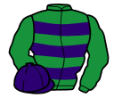 emerald green, purple hoops, emerald green sleeves, purple cap