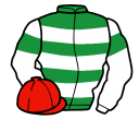 emerald green, white hoops, white sleeves, emerald green armlets, red cap