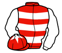 red & white hoops, white sleeves, red cap, white star