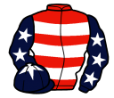 red, white hoops, dark blue sleeves, white stars, dark blue cap, white star