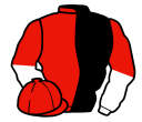 black and red (halved), white and red halved sleeves, red cap