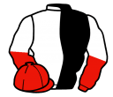 black and white (halved), red and white halved sleeves, red cap