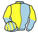 light blue and yellow (halved), sleeves reversed, light blue and yellow striped cap