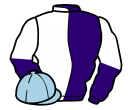 purple and white (halved), sleeves reversed, light blue cap