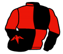 black and red (quartered), halved sleeves, black cap, red star