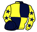 dark blue and yellow (quartered), yellow sleeves, dark blue stars and cap