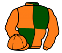 dark green and orange (quartered), orange sleeves and cap