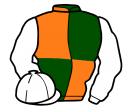 dark green and orange (quartered), white sleeves and cap