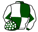 dark green and white (quartered), diabolo on sleeves, dark green cap, white spots