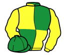 emerald green and yellow (quartered), yellow sleeves