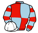 light blue and red (quartered), hooped sleeves, white cap