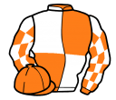 orange and white (quartered), checked sleeves and cap