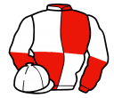 red and white (quartered), halved sleeves, white cap