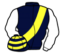 dark blue, yellow sash, white sleeves, dark blue and yellow hooped cap