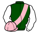 green, pink sash and cap, white sleeves