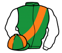 emerald green, orange sash, white sleeves, emerald green and orange quartered cap