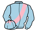 light blue, pink sash, pink star on cap