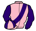 pink, purple sash and sleeves, quartered cap