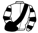 white, black sash, hooped sleeves, black cap
