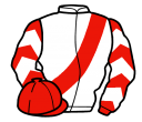 white, red sash, red and white chevrons on sleeves, red cap