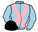 light blue, pink cross belts, black cap