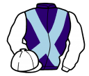 purple, light blue cross belts, white sleeves and cap