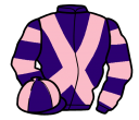 purple, pink cross belts, hooped sleeves, quartered cap