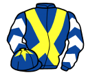 royal blue, yellow cross belts, royal blue and white chevrons on sleeves, royal blue cap, yellow star