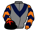 grey, dark blue chevron, orange and dark blue chevrons on sleeves, black cap, red star