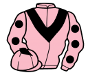 pink, black chevron, pink sleeves, black spots, pink cap, black diamond