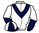 white, dark blue chevron, dark blue and white halved sleeves, dark blue and white quartered cap