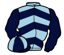 light blue, dark blue chevrons and sleeves, dark blue and light blue quartered cap