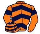 orange, dark blue chevrons and armlets, hooped cap