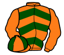 orange, dark green chevrons, orange sleeves, quartered cap