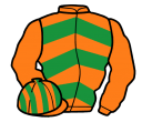 orange & emerald green chevrons, orange sleeves, striped cap