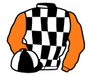 black and white check, orange sleeves, black and white quartered cap