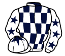 dark blue and white check, white sleeves, dark blue stars, white cap, dark blue star
