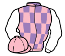 mauve and pink check, white sleeves, pink cap